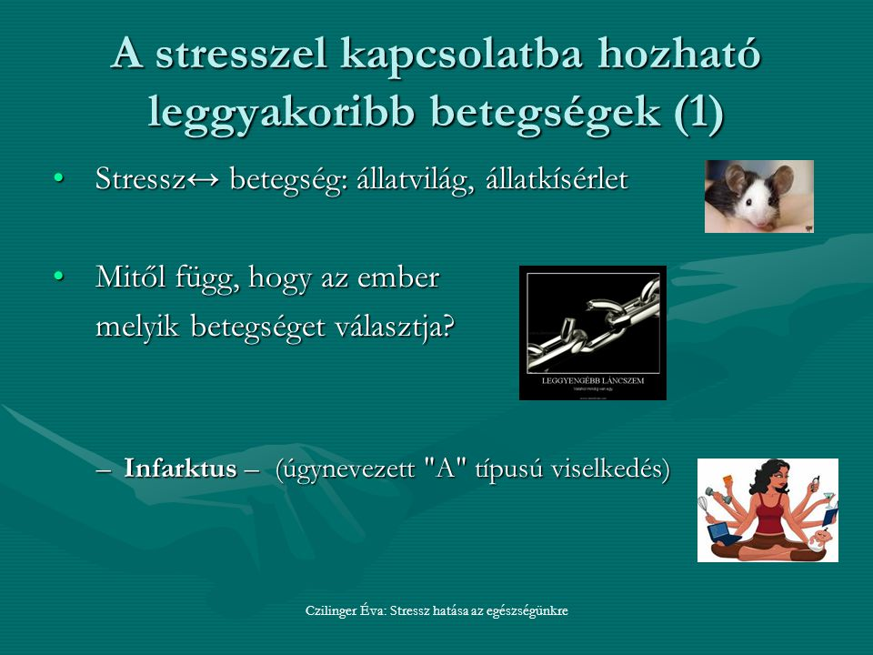 A stresszel kapcsolatba hozható leggyakoribb betegségek (1)