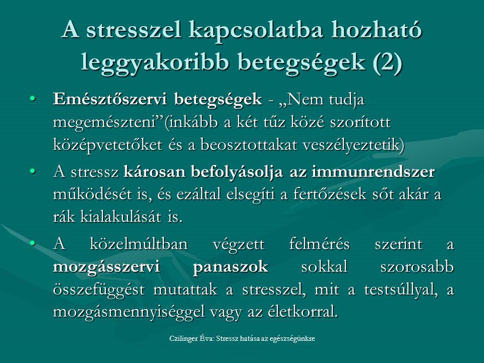 A stresszel kapcsolatba hozható leggyakoribb betegségek (2)