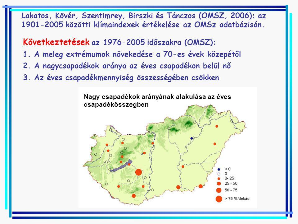 Következtetések az 1976-2005 időszakra (OMSZ):
