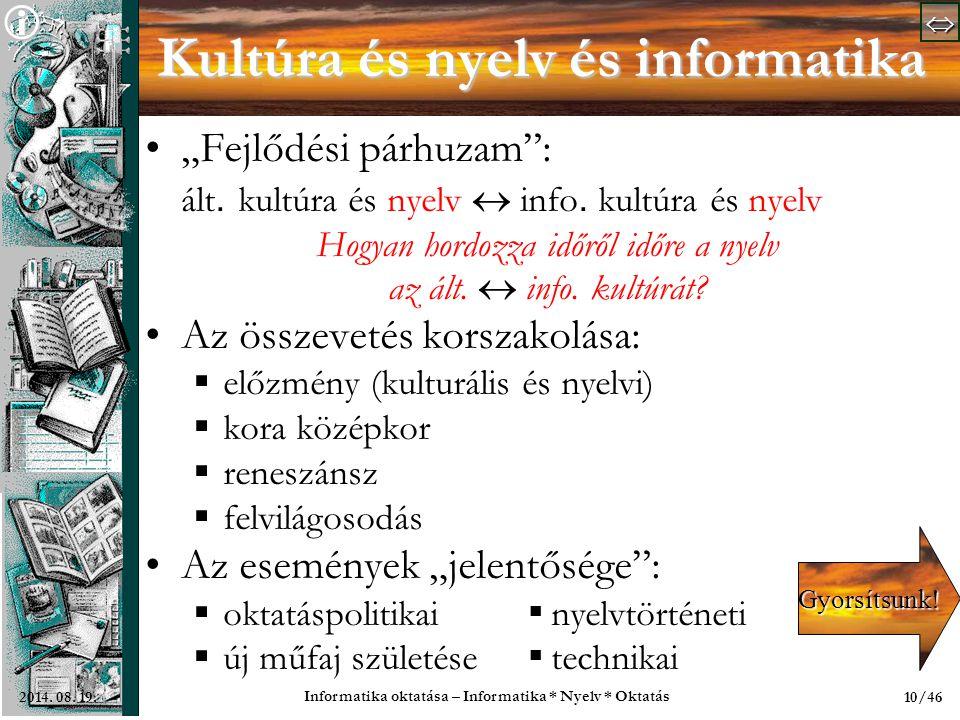 Kultúra és nyelv és informatika