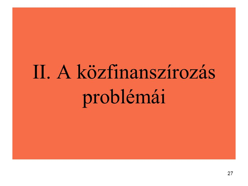 II. A közfinanszírozás problémái