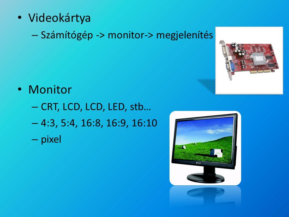 Videokártya Monitor Számítógép -> monitor-> megjelenítés