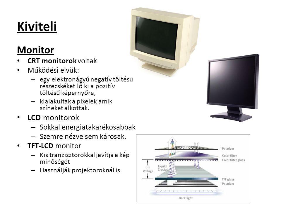 Kiviteli Monitor LCD monitorok CRT monitorok voltak Működési elvük: