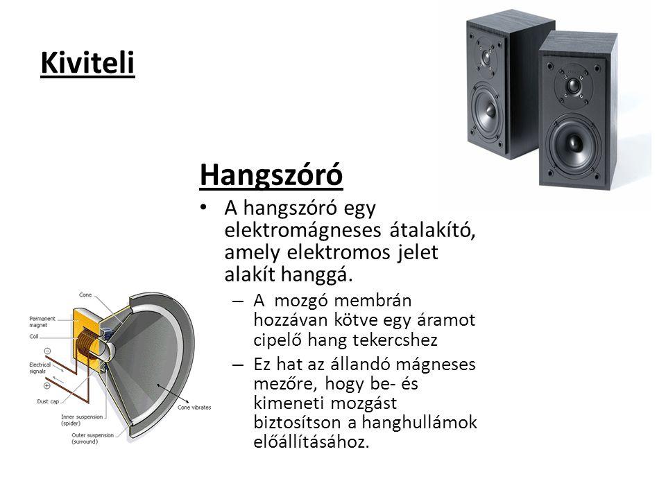 Kiviteli Hangszóró. A hangszóró egy elektromágneses átalakító, amely elektromos jelet alakít hanggá.