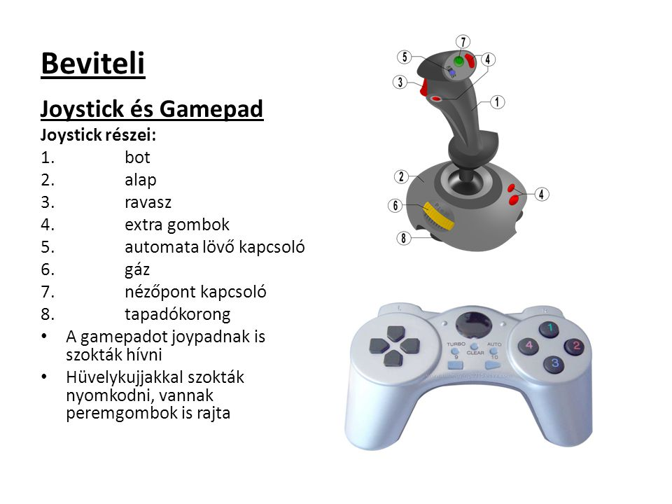 Beviteli Joystick és Gamepad Joystick részei: bot alap ravasz