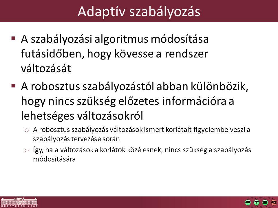 Adaptív szabályozás A szabályozási algoritmus módosítása futásidőben, hogy kövesse a rendszer változását.