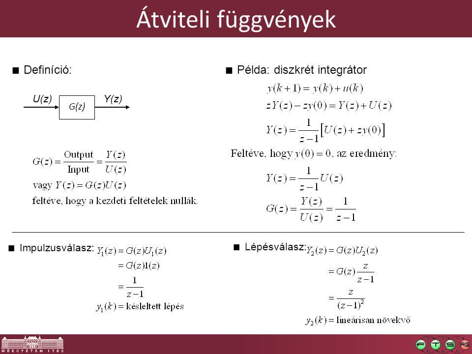 Átviteli függvények Definíció: Példa: diszkrét integrátor U(z) Y(z)