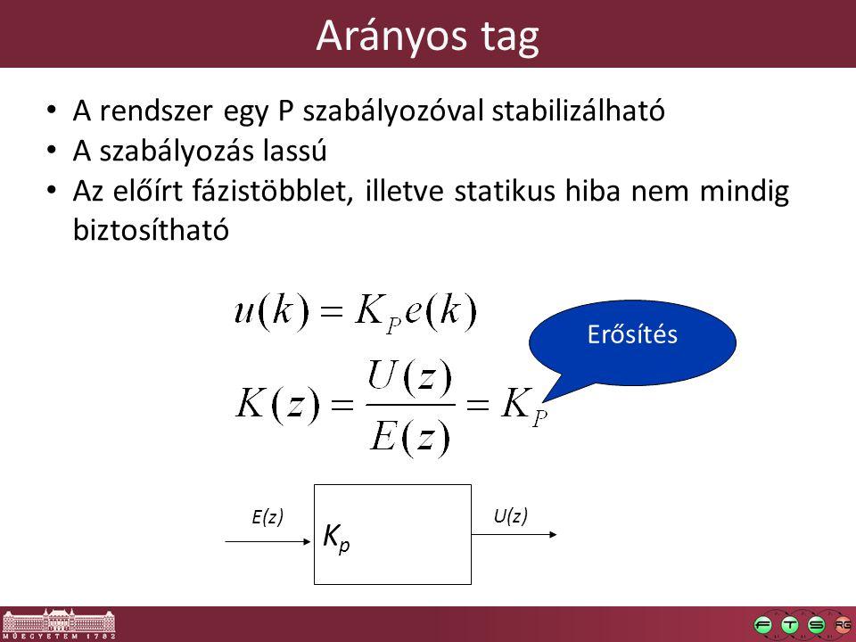 Arányos tag A rendszer egy P szabályozóval stabilizálható