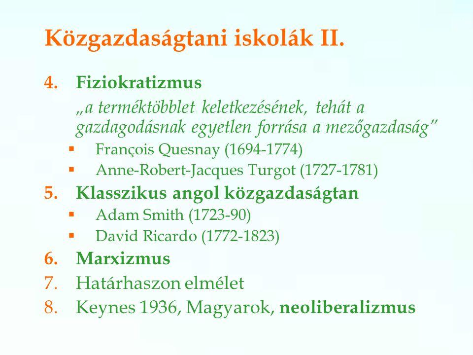Közgazdaságtani iskolák II.
