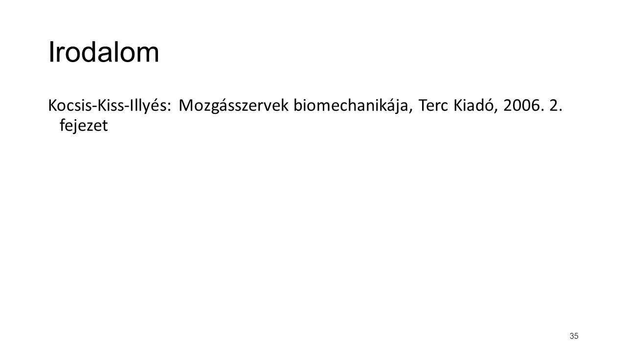 Irodalom Kocsis-Kiss-Illyés: Mozgásszervek biomechanikája, Terc Kiadó, 2006. 2. fejezet