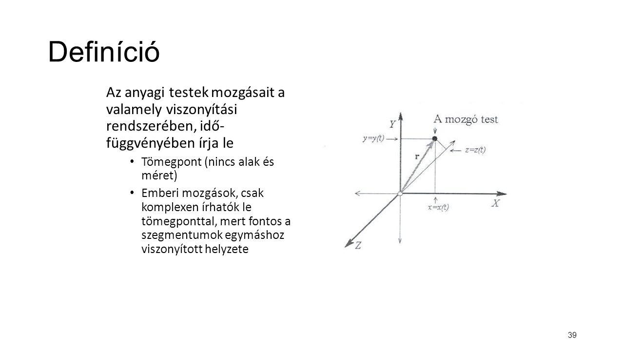 Definíció Az anyagi testek mozgásait a valamely viszonyítási rendszerében, idő- függvényében írja le.