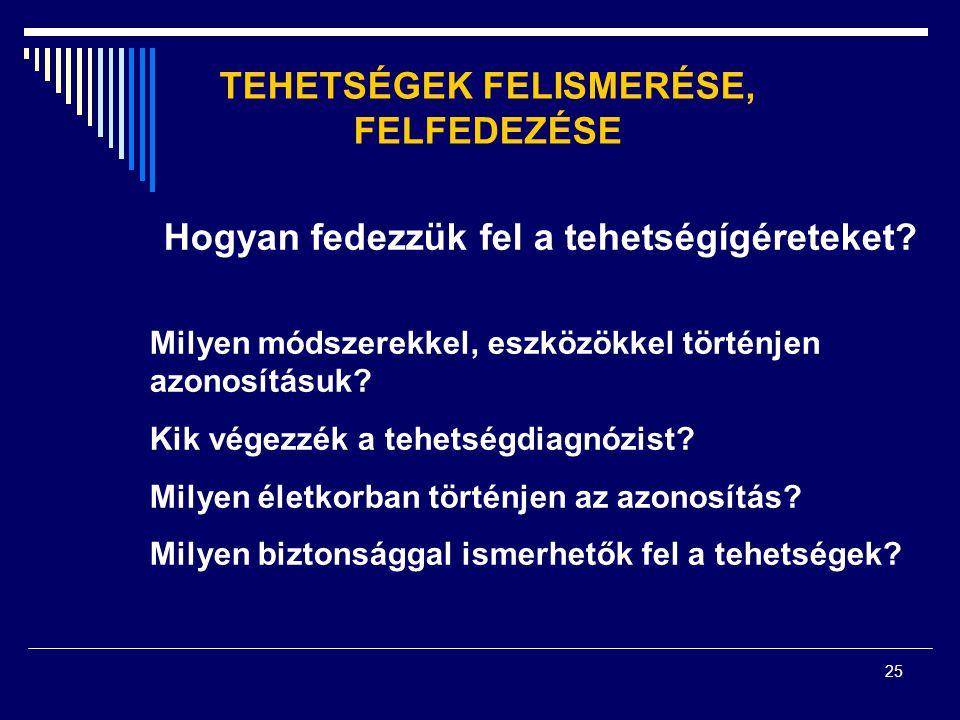 TEHETSÉGEK FELISMERÉSE, FELFEDEZÉSE