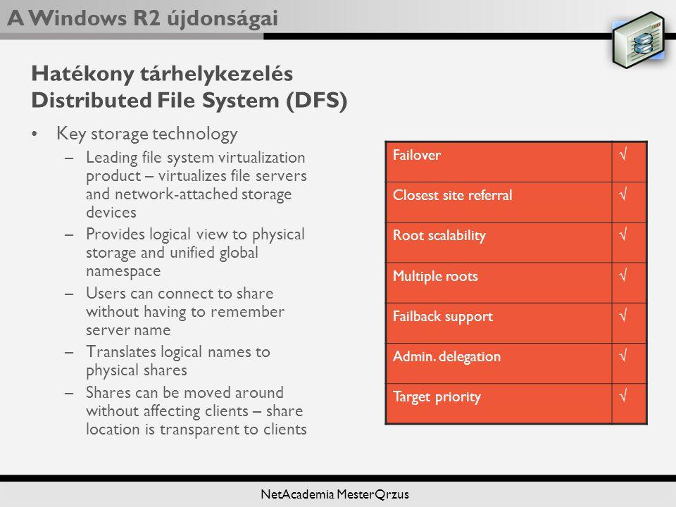 Hatékony tárhelykezelés Distributed File System (DFS)
