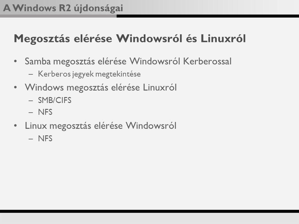 Megosztás elérése Windowsról és Linuxról