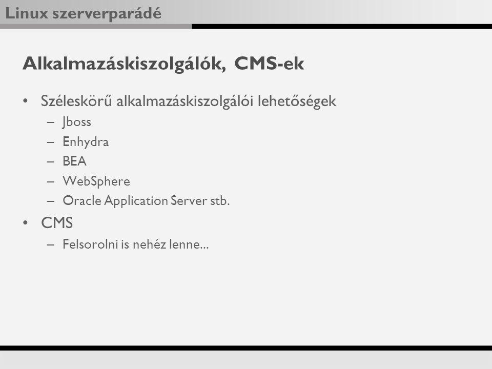 Alkalmazáskiszolgálók, CMS-ek
