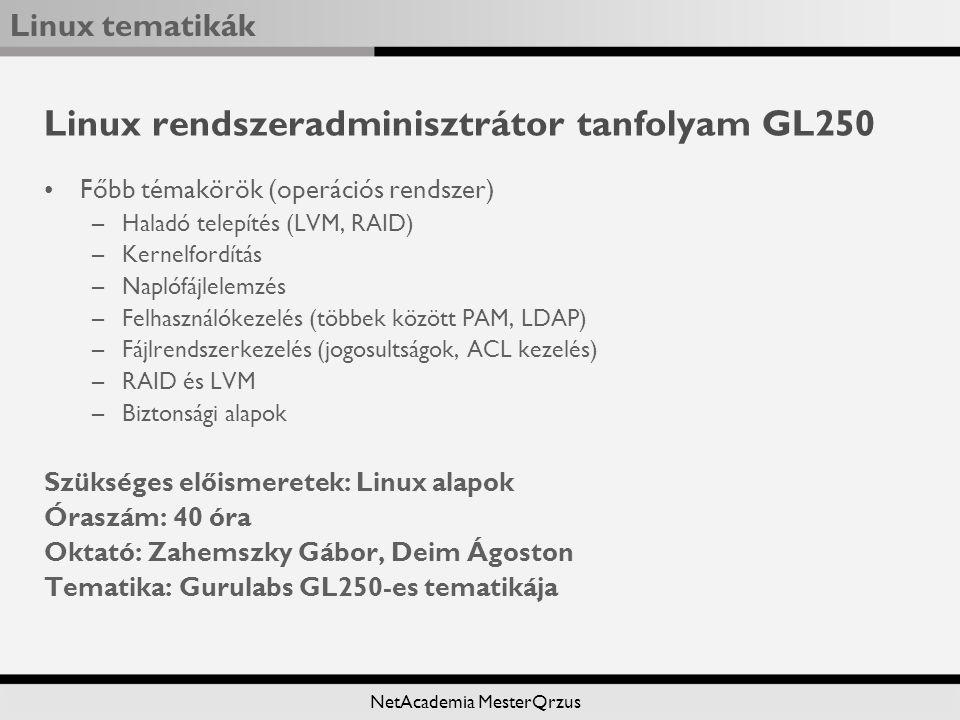 Linux rendszeradminisztrátor tanfolyam GL250