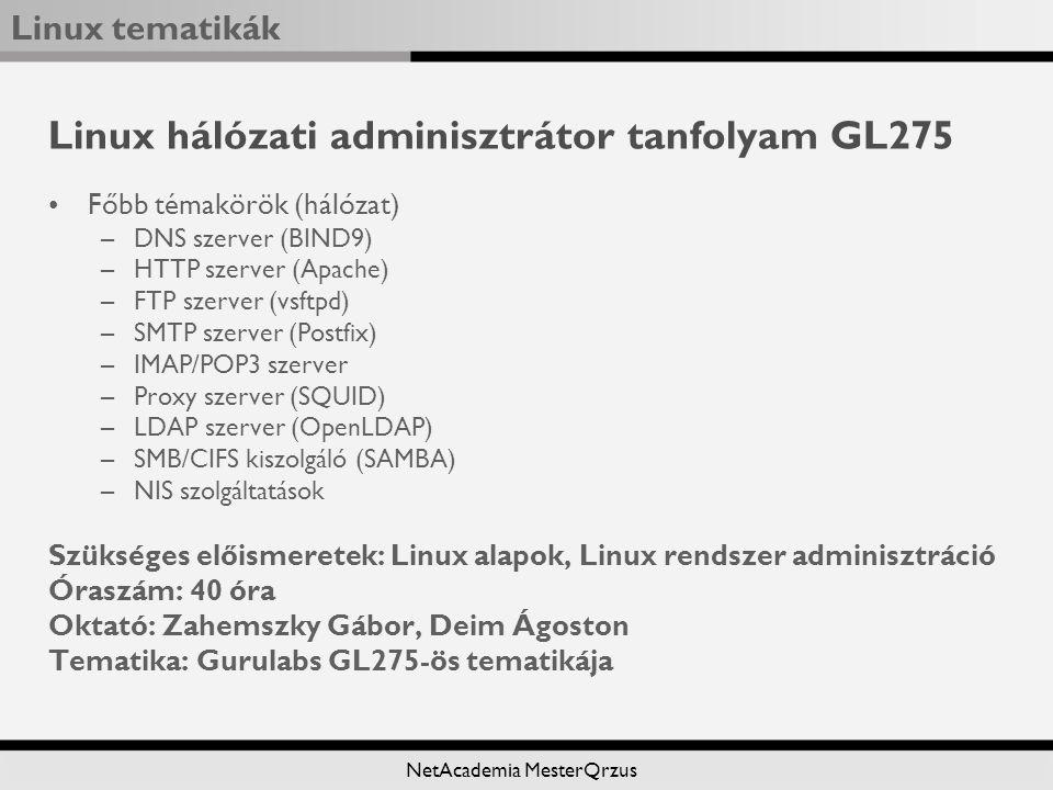 Linux hálózati adminisztrátor tanfolyam GL275