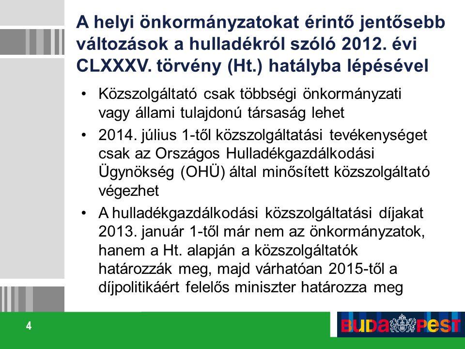 A helyi önkormányzatokat érintő jentősebb változások a hulladékról szóló 2012. évi CLXXXV. törvény (Ht.) hatályba lépésével