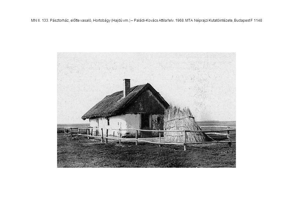 MN II. 133. Pásztorház, előtte vasaló, Hortobágy (Hajdú vm