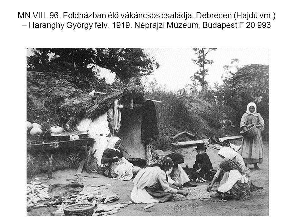 MN VIII. 96. Földházban élő vákáncsos családja. Debrecen (Hajdú vm
