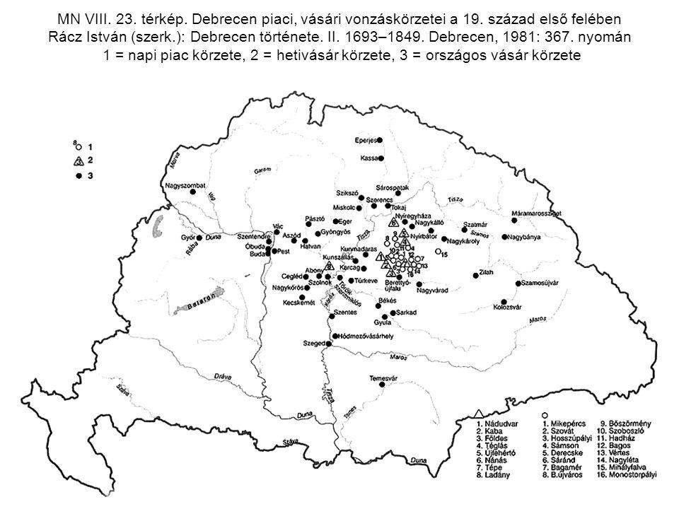 MN VIII. 23. térkép. Debrecen piaci, vásári vonzáskörzetei a 19