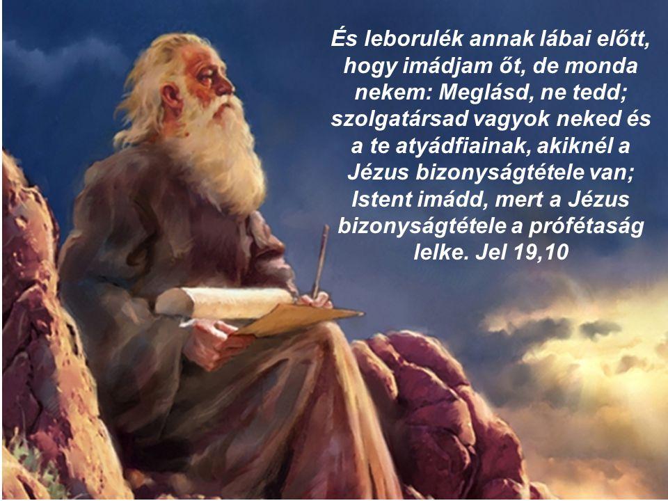 És leborulék annak lábai előtt, hogy imádjam őt, de monda nekem: Meglásd, ne tedd; szolgatársad vagyok neked és a te atyádfiainak, akiknél a Jézus bizonyságtétele van; Istent imádd, mert a Jézus bizonyságtétele a prófétaság lelke.