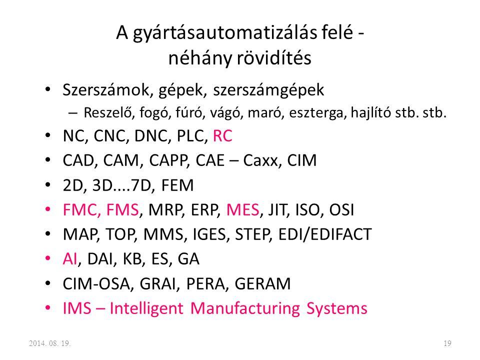 A gyártásautomatizálás felé - néhány rövidítés