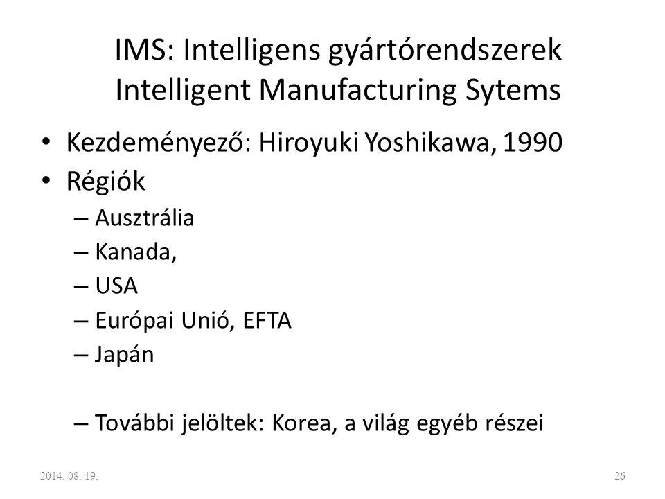 IMS: Intelligens gyártórendszerek Intelligent Manufacturing Sytems