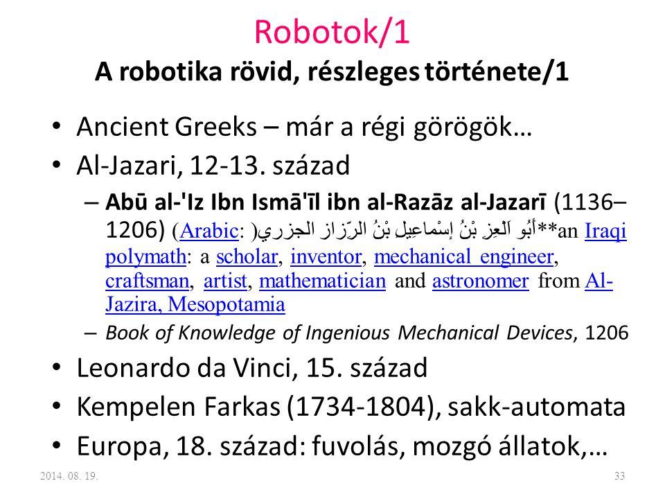 Robotok/1 A robotika rövid, részleges története/1