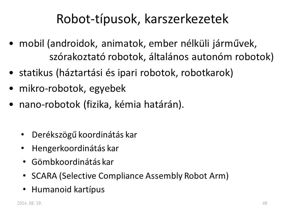 Robot-típusok, karszerkezetek