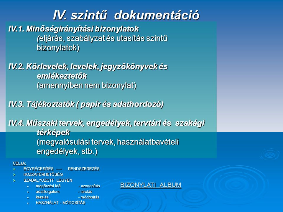 IV. szintű dokumentáció