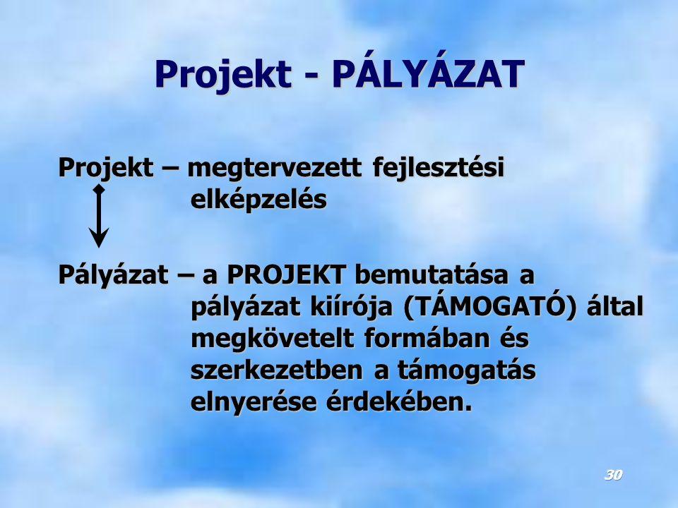 Projekt - PÁLYÁZAT Projekt – megtervezett fejlesztési elképzelés