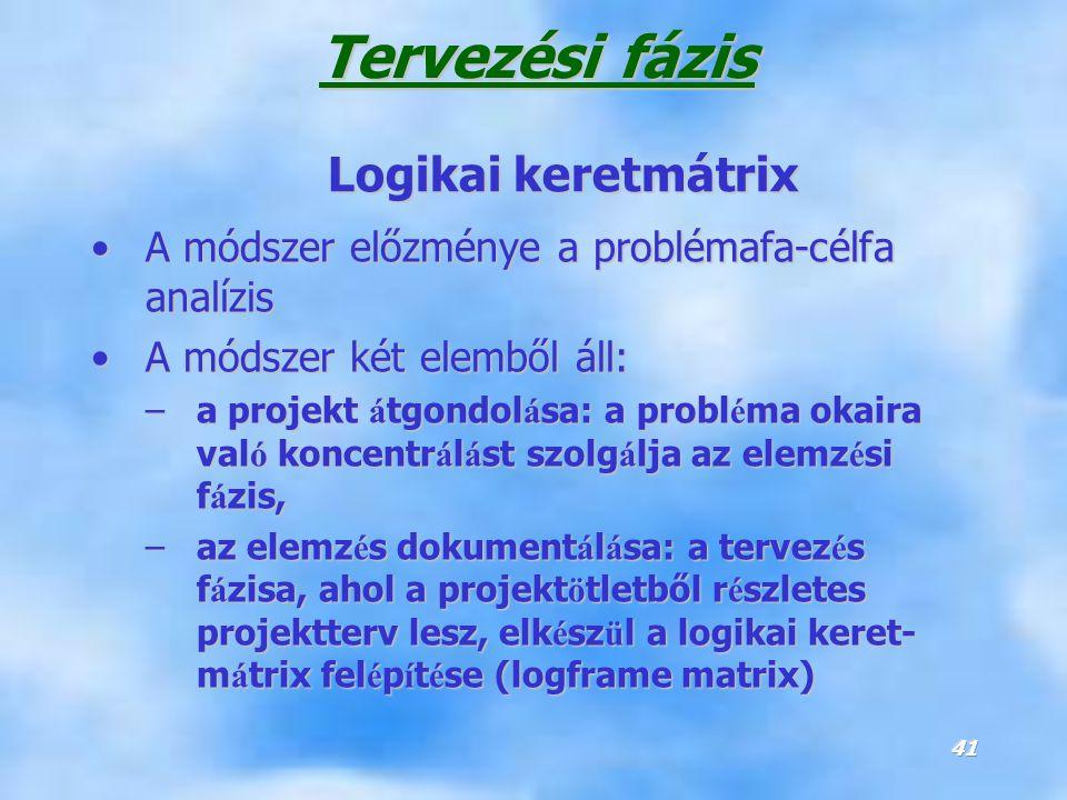 Tervezési fázis Logikai keretmátrix