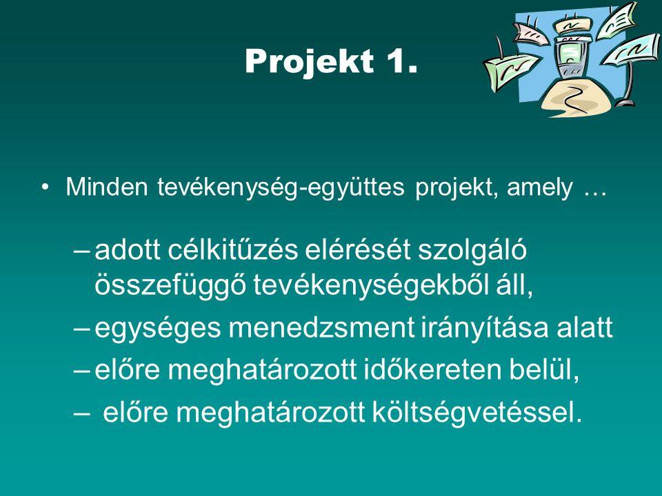 Projekt 1. Minden tevékenység-együttes projekt, amely … adott célkitűzés elérését szolgáló összefüggő tevékenységekből áll,
