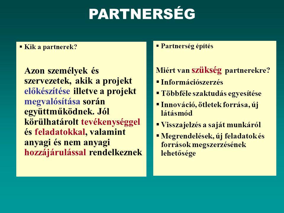 PARTNERSÉG Kik a partnerek
