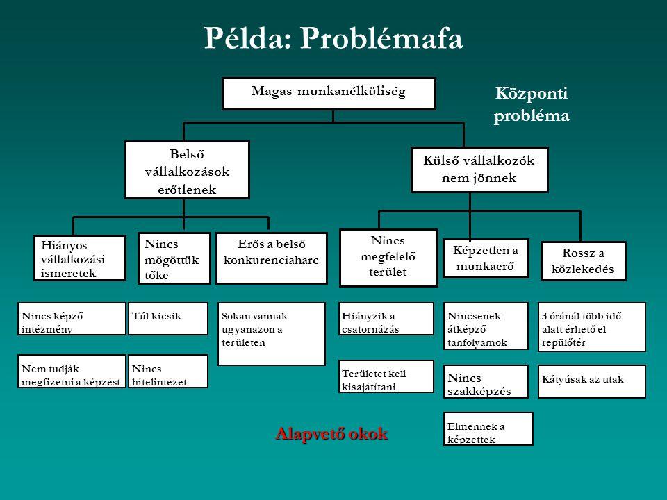 Példa: Problémafa Központi probléma Alapvető okok