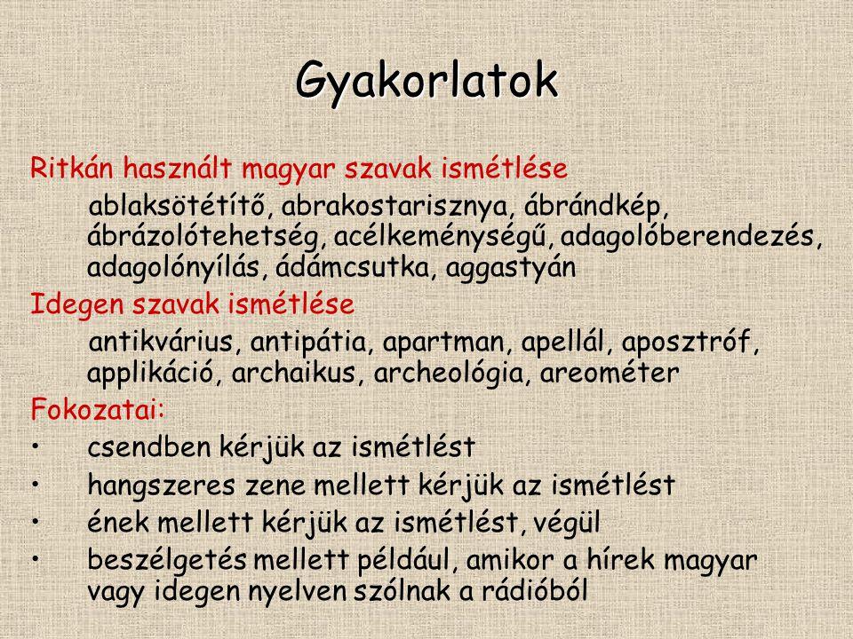 Gyakorlatok Ritkán használt magyar szavak ismétlése