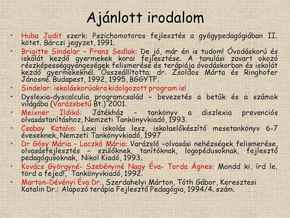 Ajánlott irodalom Huba Judit szerk: Pszichomotoros fejlesztés a gyógypedagógiában II. kötet. Bárczi jegyzet, 1991.