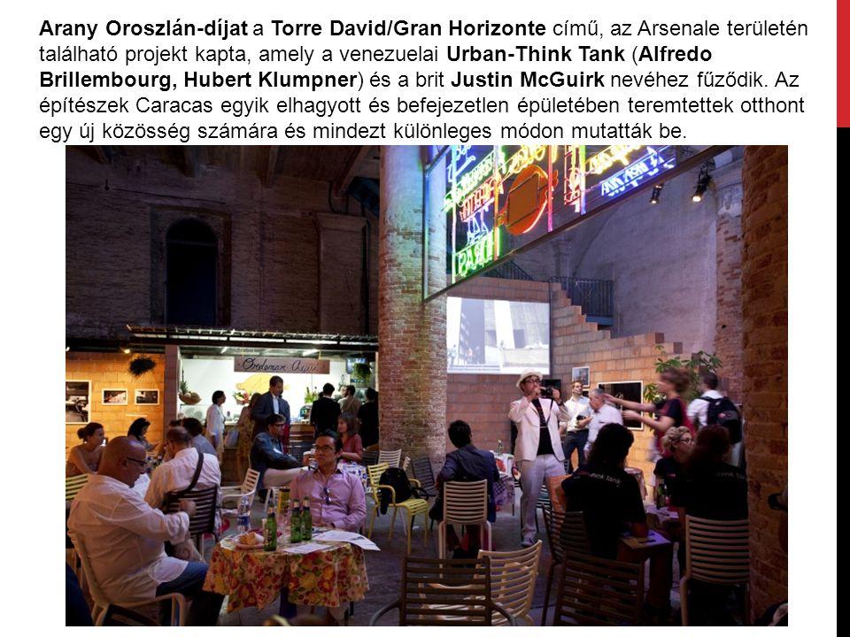 Arany Oroszlán-díjat a Torre David/Gran Horizonte című, az Arsenale területén található projekt kapta, amely a venezuelai Urban-Think Tank (Alfredo Brillembourg, Hubert Klumpner) és a brit Justin McGuirk nevéhez fűződik.