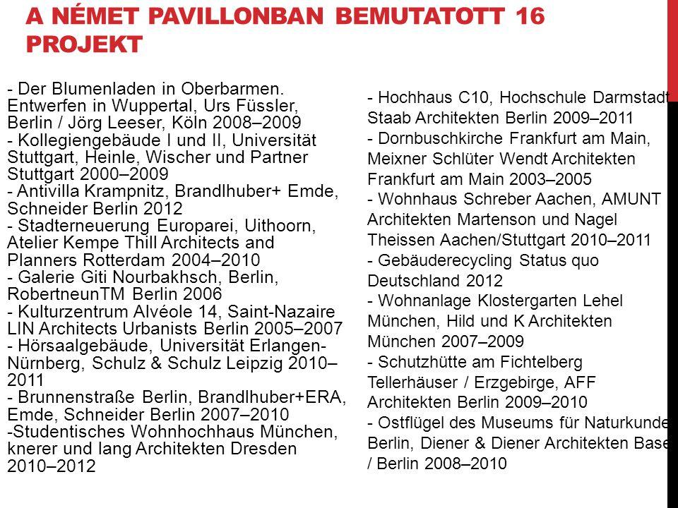 A német pavillonban bemutatott 16 projekt
