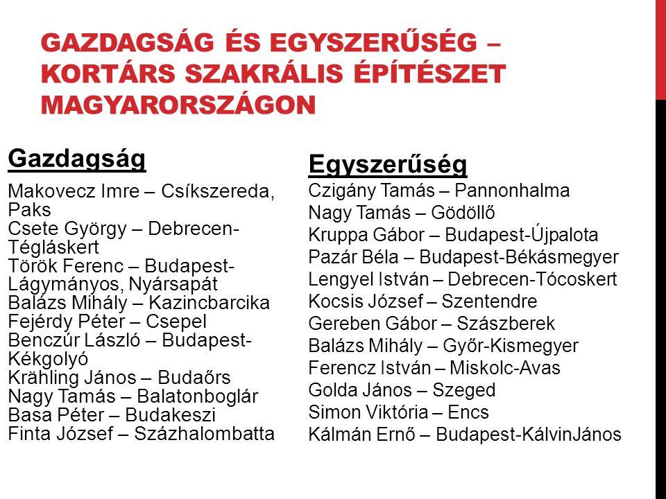 GAZDAGSÁG és EGYSZERŰSÉG – Kortárs szakrális építészet Magyarországon