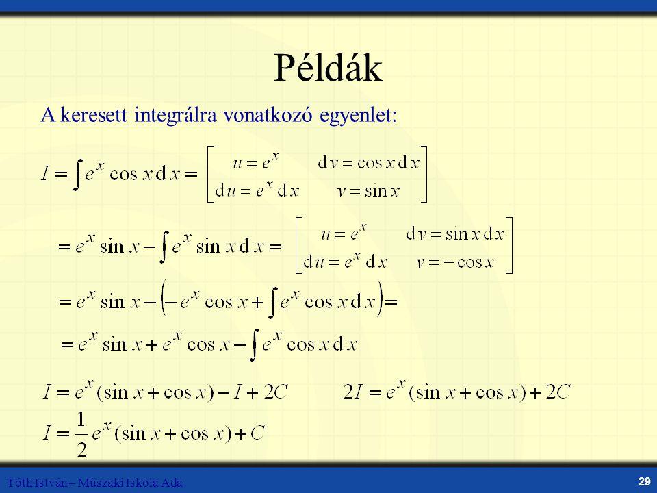 Példák A keresett integrálra vonatkozó egyenlet: