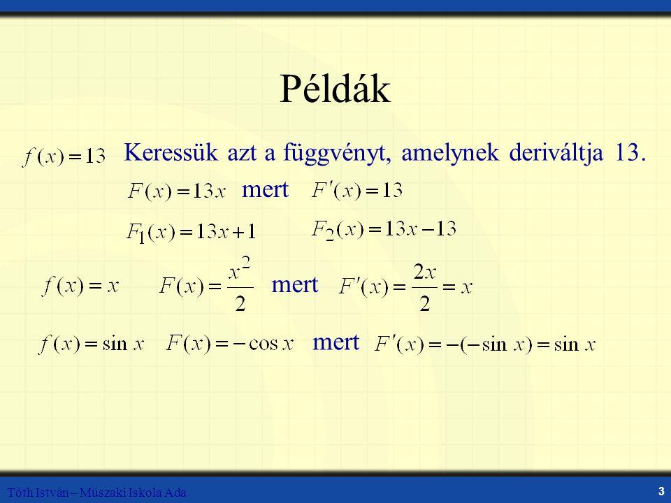 Példák Keressük azt a függvényt, amelynek deriváltja 13. mert mert