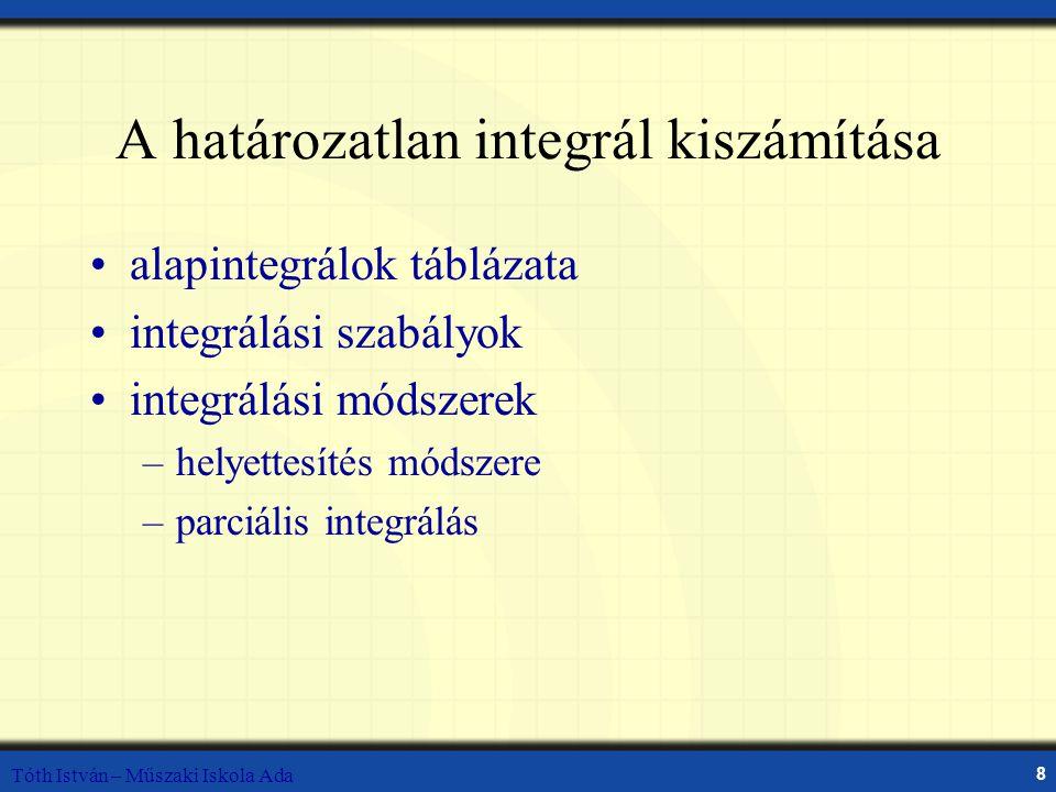 A határozatlan integrál kiszámítása