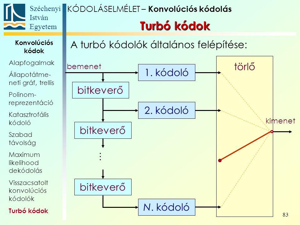 Turbó kódok A turbó kódolók általános felépítése: törlő 1. kódoló