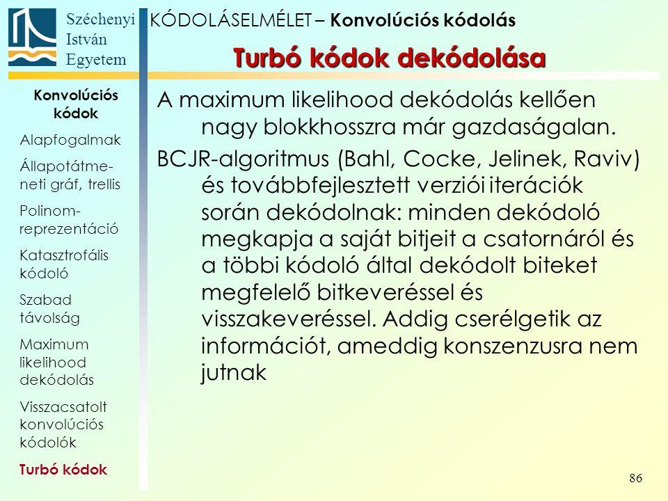 Turbó kódok dekódolása