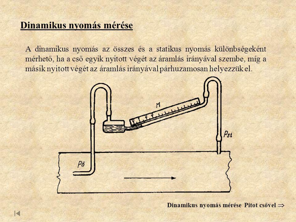Dinamikus nyomás mérése Pitot csővel 