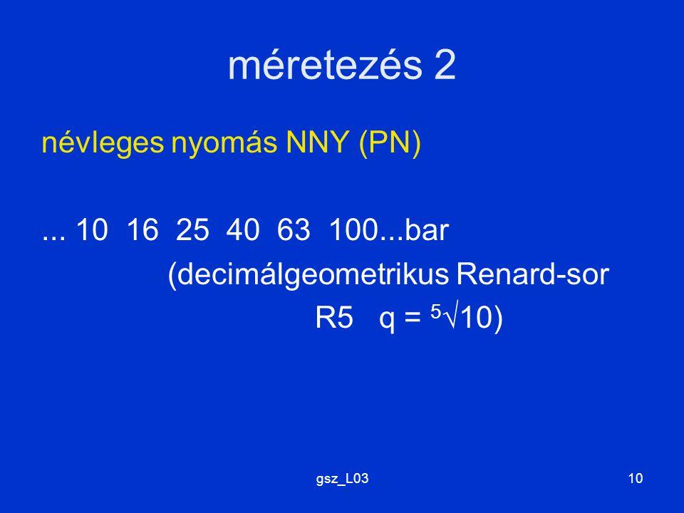 méretezés 2 névleges nyomás NNY (PN) ... 10 16 25 40 63 100...bar