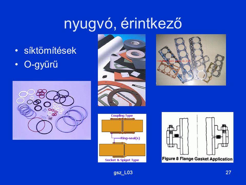 nyugvó, érintkező síktömítések O-gyűrű gsz_L03