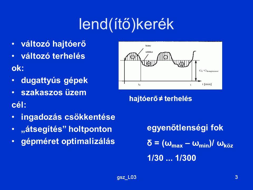 lend(ítő)kerék változó hajtóerő változó terhelés ok: dugattyús gépek
